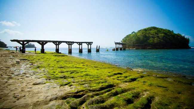suasana yang masih sepi dan alami membuat daya tarik tersendiri pantai jembatan panjang