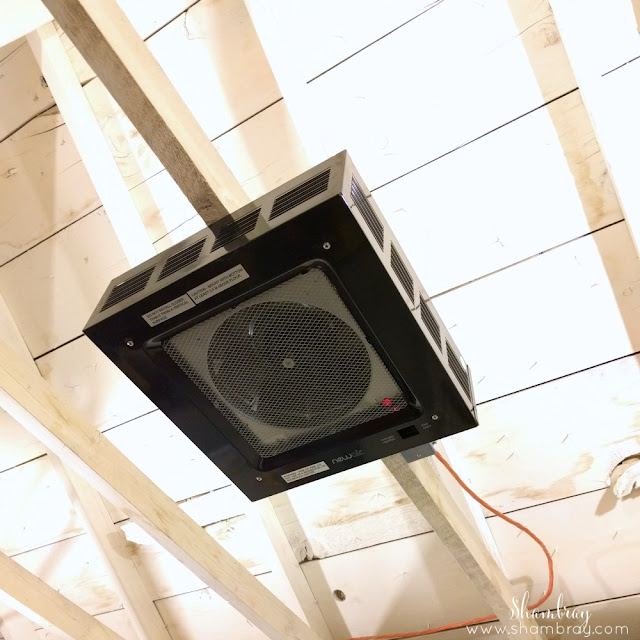 Installed ceiling garage heater