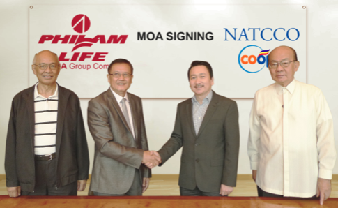 NATCCO MBAI President, Doctor Luis Carillo; NATCCO MBAI Chairman, Rustico Galang; Philam Life Corporate Solutions' Sales Head, Erwin Go; and Philam Life Senior Agency Manager, Isagani Antonio.