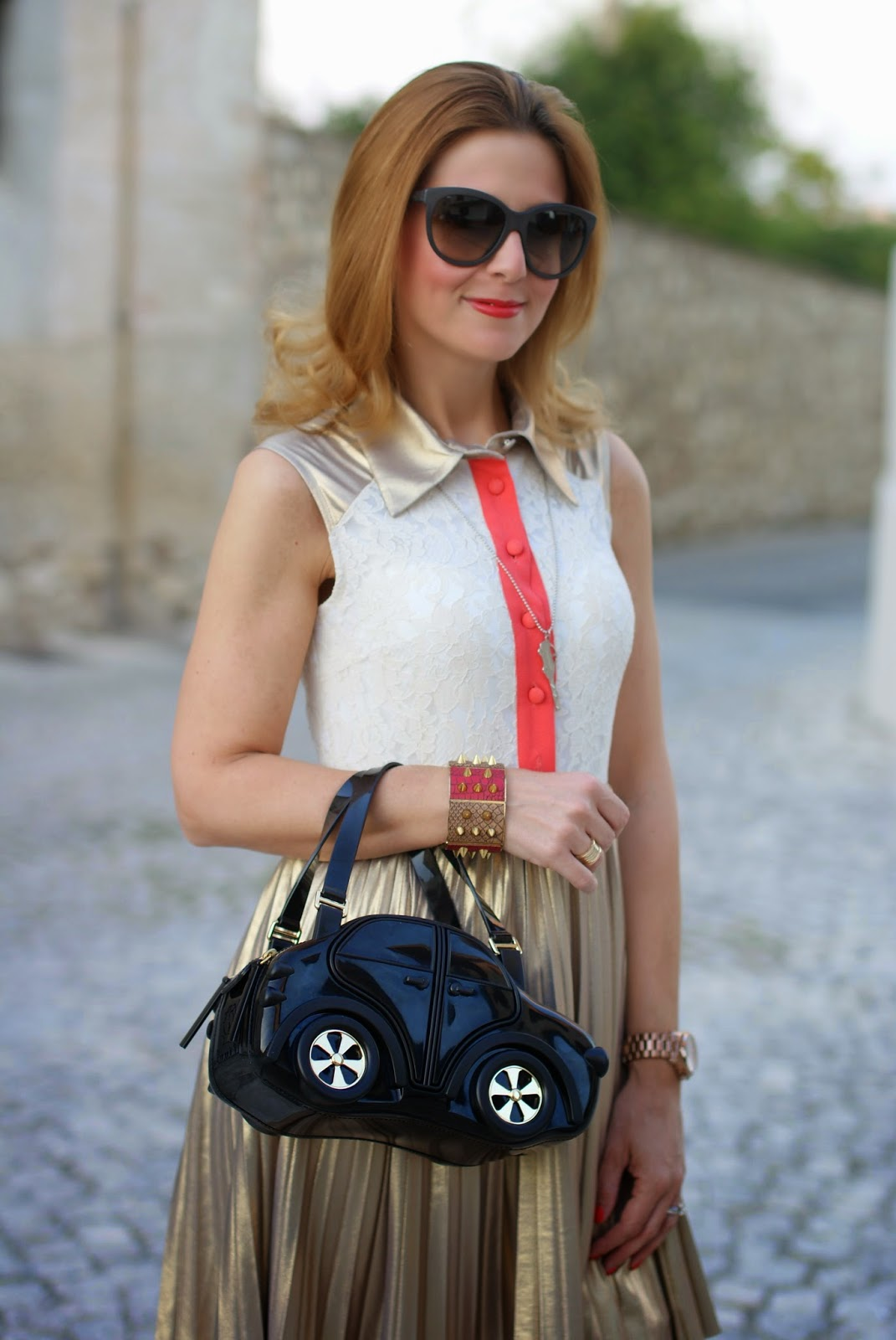 Braccialini, Carina Bag, CarinaBag, Jovonna golden dress, Fashion and Cookies, fashion blogger