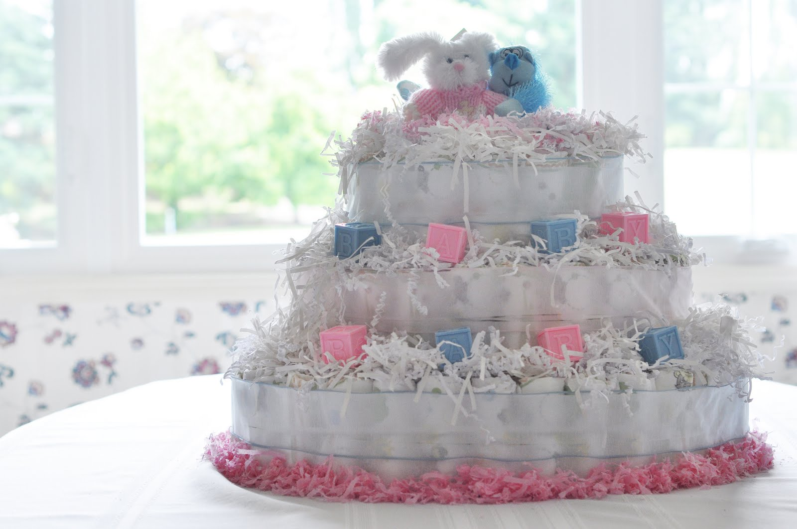 baby shower diaper cake centerpiece tutorial girl boy twins