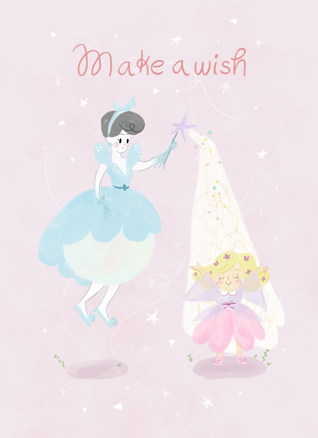 fairy godmother, hada madrina, greeting card, birthday card, ilustración, laura gomez