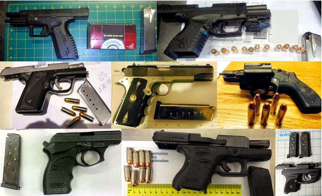Firearms Discovered at (L-R / T-B) LAS, TPA, MCO, IAH, IAH, SAT, TUL, PDX