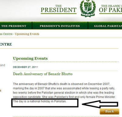27 December 2011 Holiday in Pakistan, Public Holiday Benazir Bhutto Anniversary