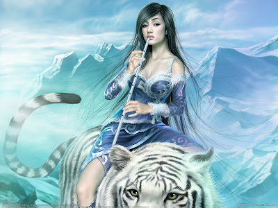 tiger-with-a-lady-fantasy-wallpaper