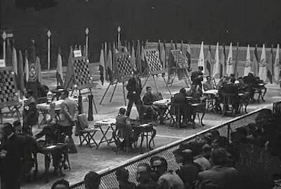 Sala de juego del II Encuentro Ibérico de Ajedrez 1946