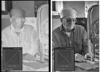 Tone curve on photo shows how easy it is to change a B&W negative into a positive using Lightroom.