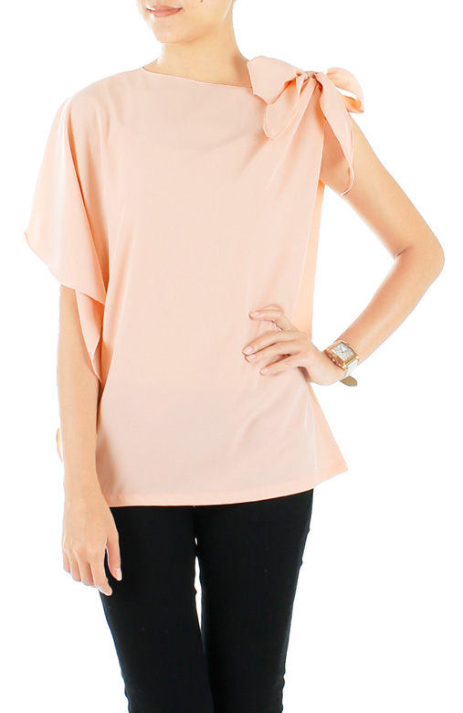 Pastel Pink Moon Child Blouse with Ribbon Side