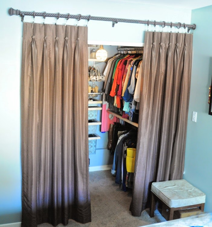 Master Bedroom closet -- doors off, curtains to separate :: OrganizingMadeFun.com