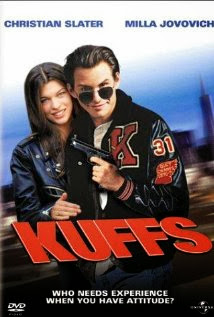 Christian Slater and Milla Jovovich on Kuffs movie poster