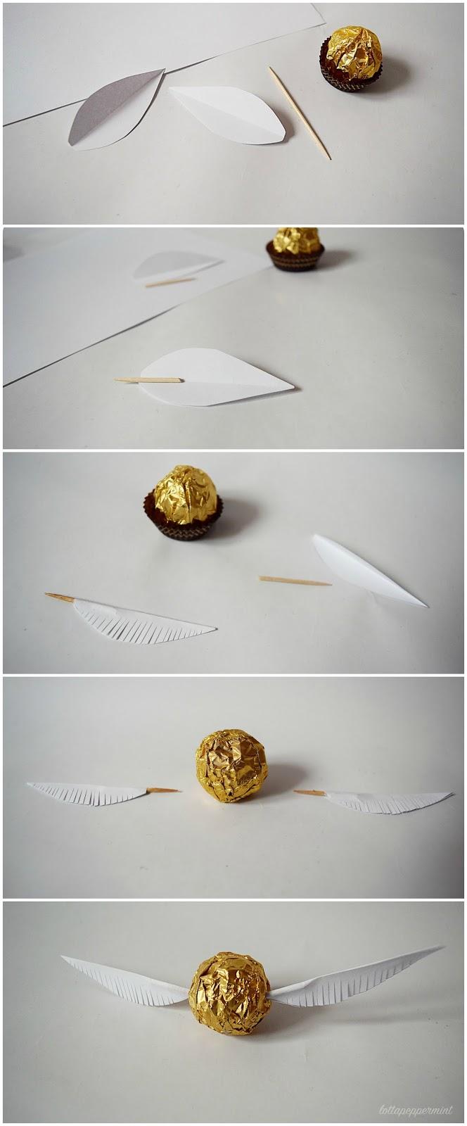 Lottapeppermint der goldene schnatz ein harry potter diy aus weihnachtsschoki - Harry potter party deko ...