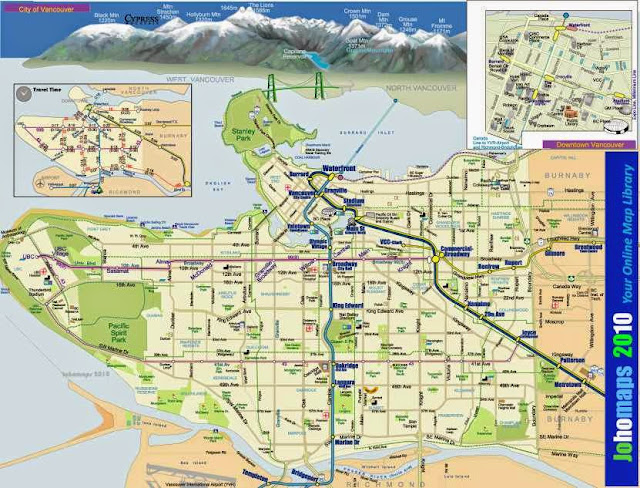 Map of Vancouver showing train stations