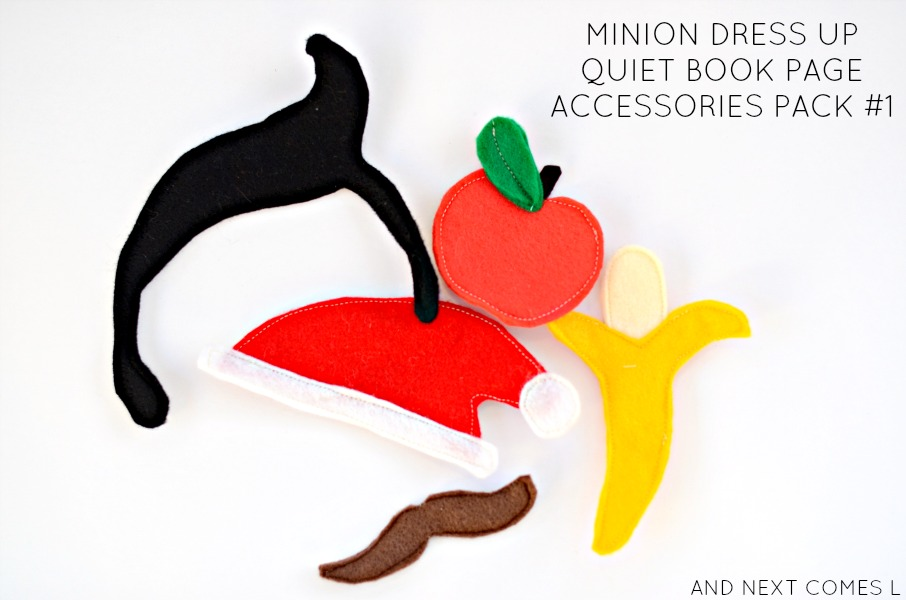Accessories pack for dress up minion quiet book page {free printable pattern} from And Next Comes L