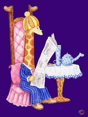 Giraffe Raph G. Neckmann reading the paper - Ingrid Sylvestre