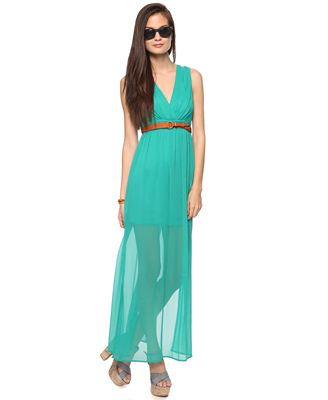 Green maxi dress forever 21