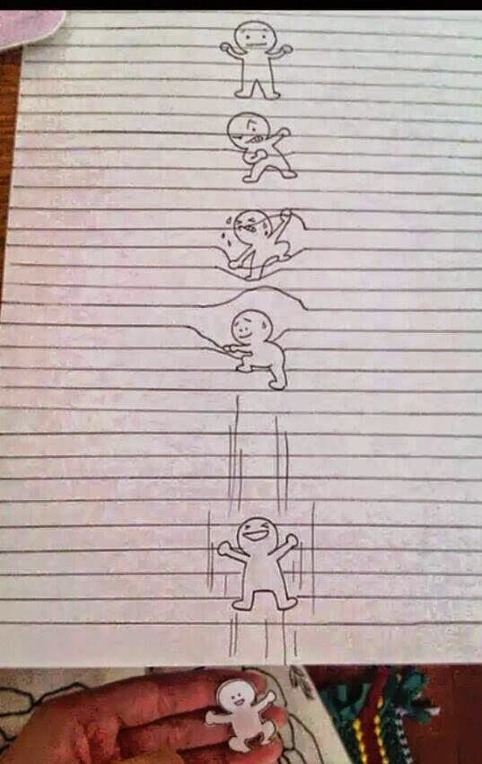 Funny stick figure drawings on paper