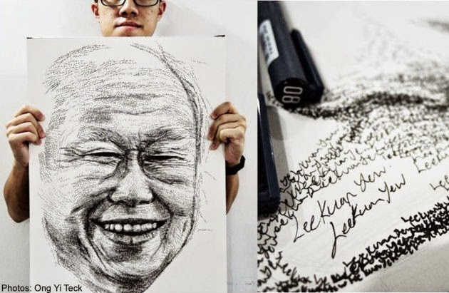 This is the first time Artist Ong Yi Teck is attempting to sketch on an A2-sized paper and also the first time he has drawn for nearly 10 hours in one day.