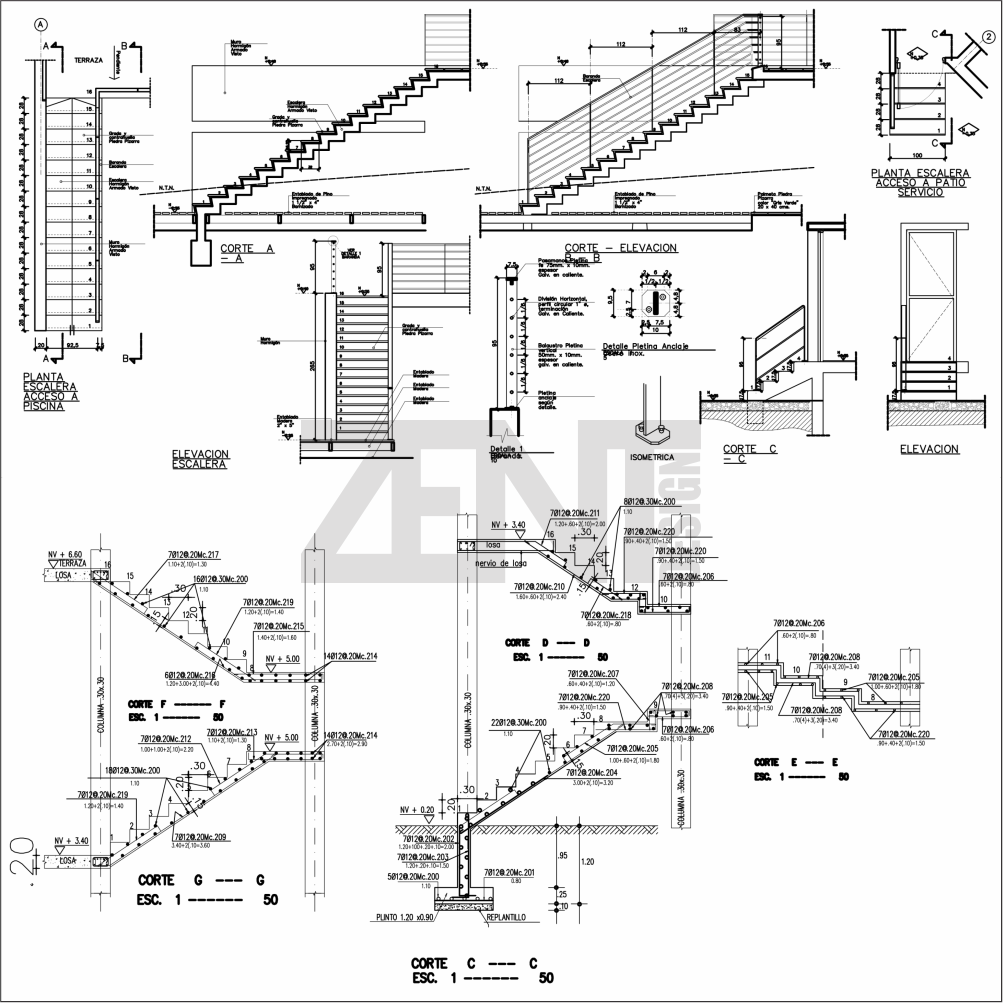 escaleras de concreto planos concrete stairs zent