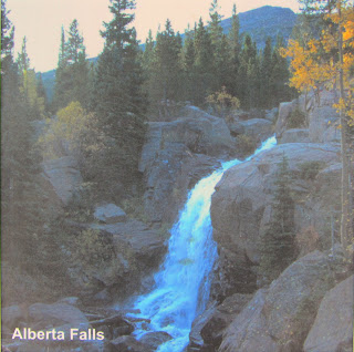 Picture of Alberta Falls on the trail sign