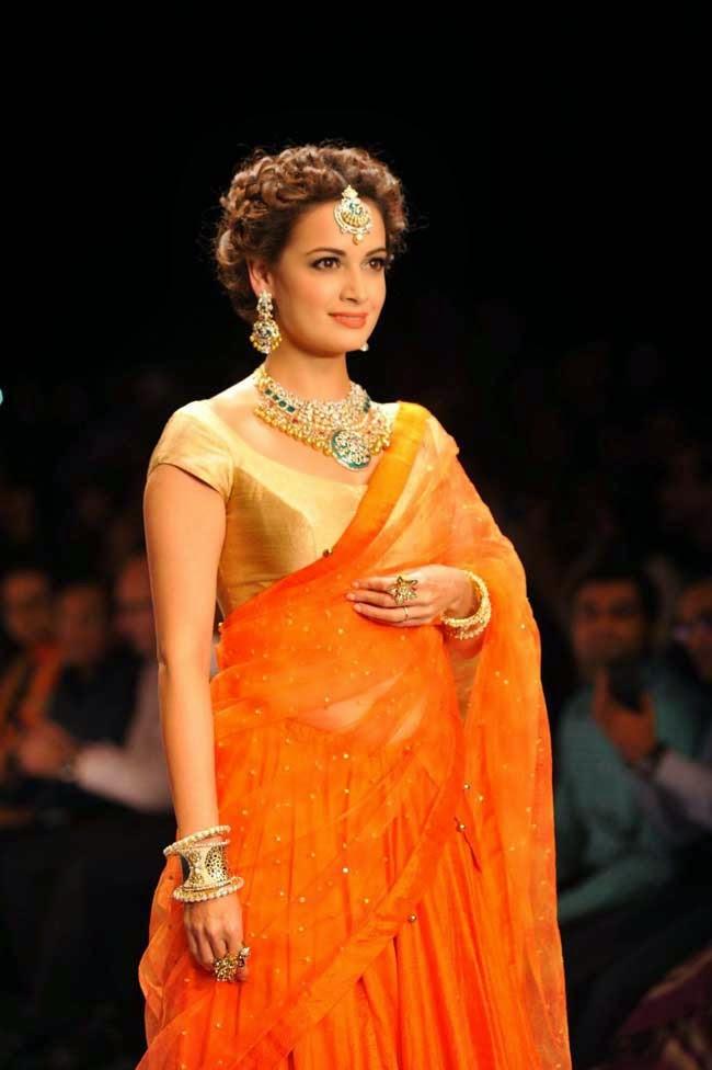 Dia Mirza In Designer Half Saree