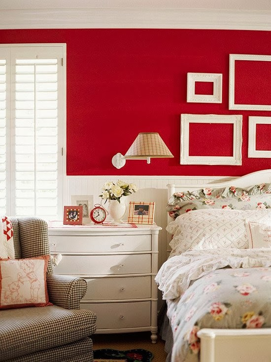 20 bedroom design ideas in a red color painting Red bedroom wall painting ideas