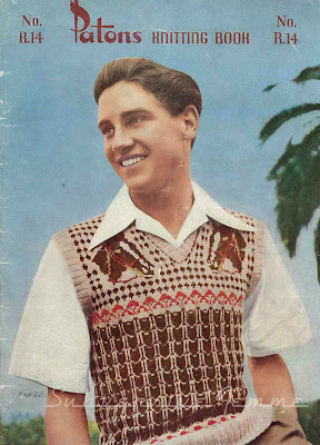 Free 1950's Knitting pattern for a men's fair isle  Pacific Pullover with horses heads