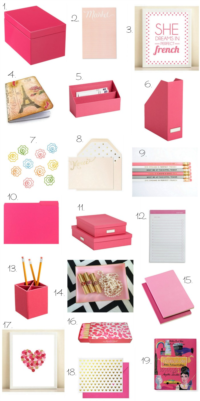 The charming avenue home decor office desk dressed in pink - Girly office desk accessories ...