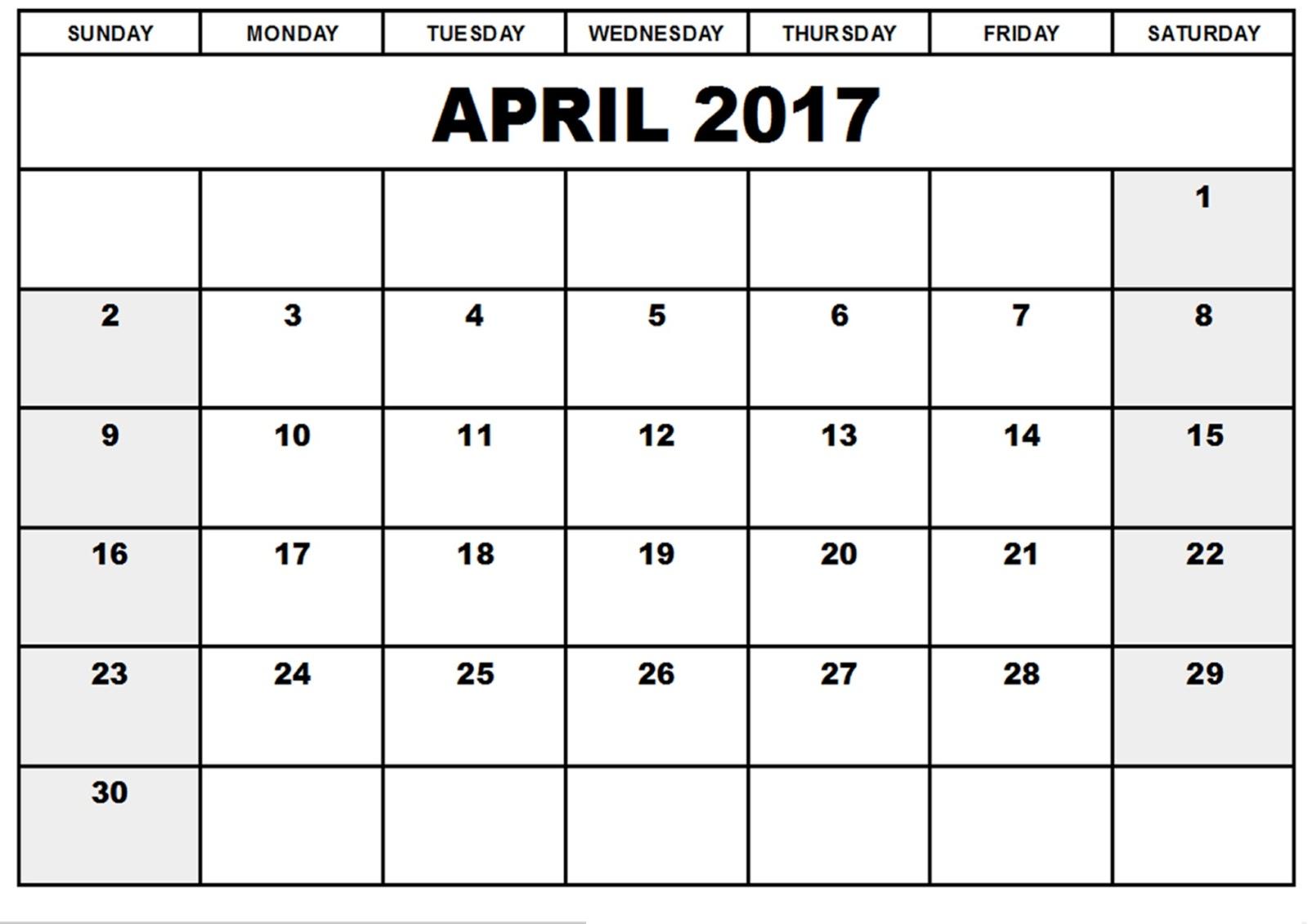 Blank Calendar April 2017 – Printable Editable Blank