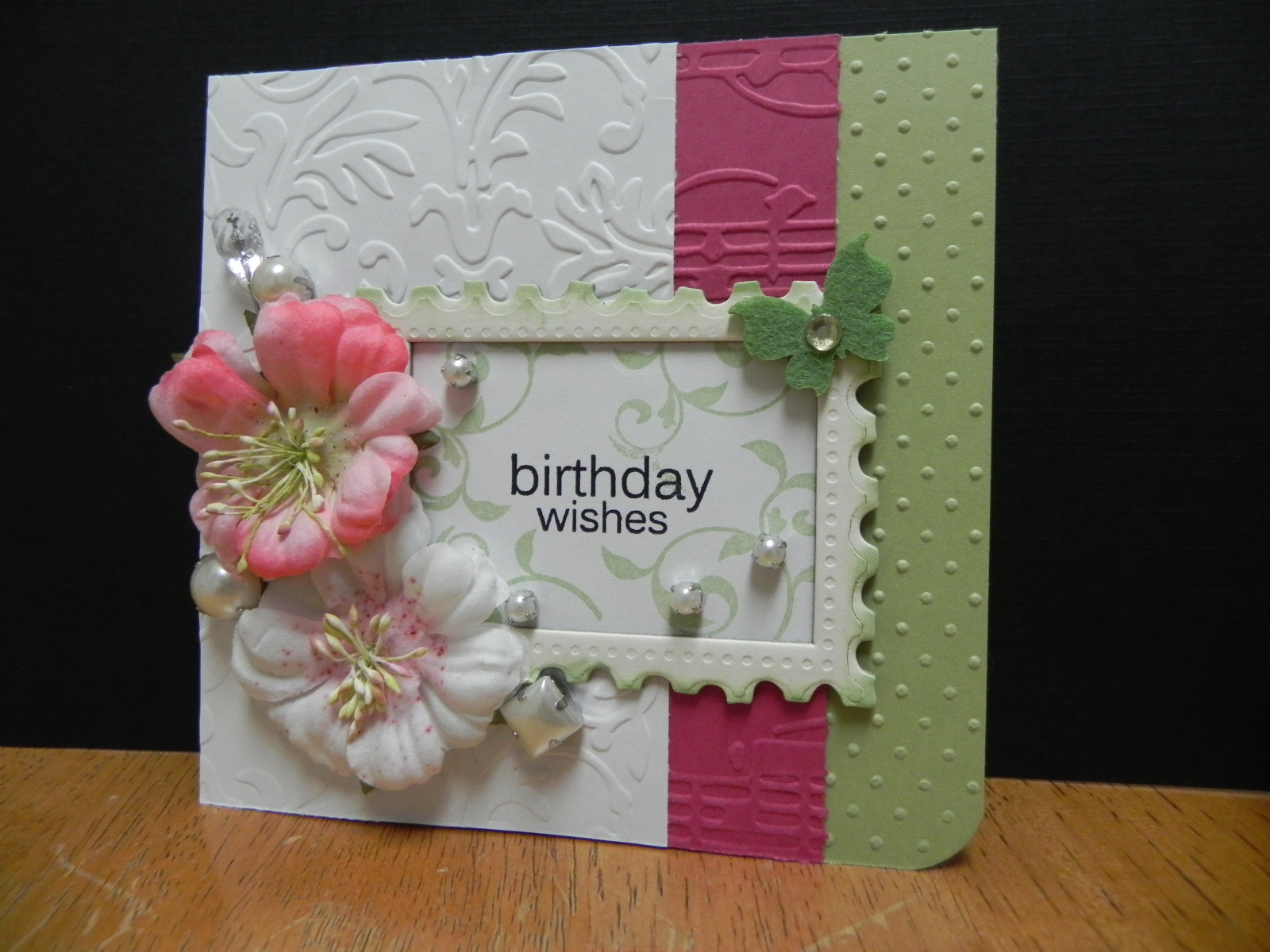 My passion for crafting birthday wishes flowers are prima pearls are jolees butterfly and cs from michaels pin is maya road frame is tatered angels corner punch mightylinksfo