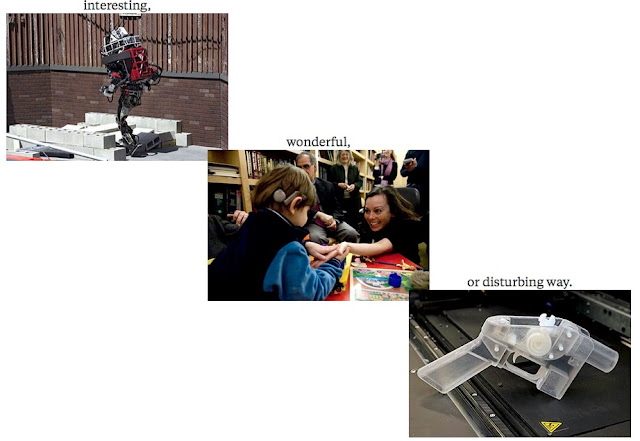 images illustrate words -- robot walking on bricks for interesting; child using technology to connect with another person for wonderful;  and 3-d printed gun for disturbing
