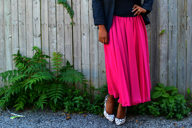 thrift and style a hot pink chiffon skirt