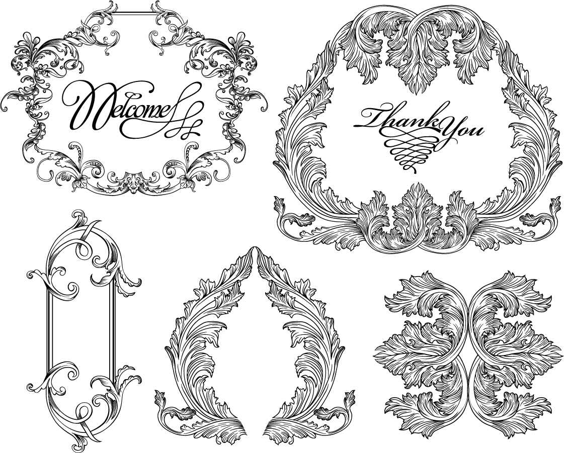 Free Vector がらくた素材庫: バロック様式のフレーム・ボーダー vintage baroque frames and decorative borders イラスト素材