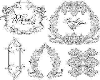 バロック様式のフレーム・ボーダー vintage baroque frames and decorative borders イラスト素材3