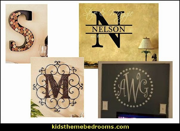 monogram wall decals personalized letter metal wall art personalized name signs