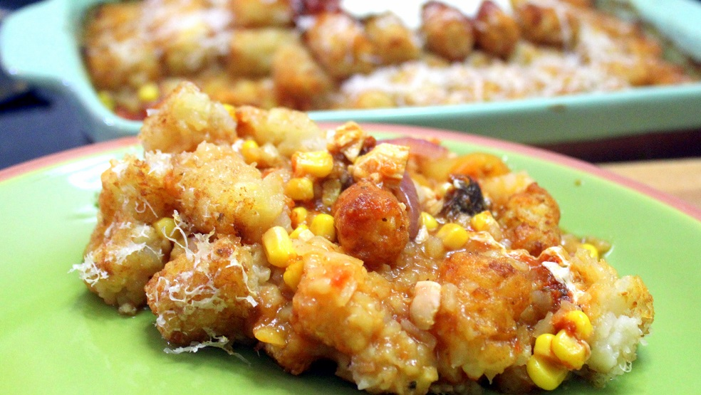 I have been trying to come up with a new tater tot casserole recipe for a while. Our hamburger crock pot tater tot casserole recipe is one of our most popular recipes. It seemed like a good idea to make a new one with chicken instead of hamburger.