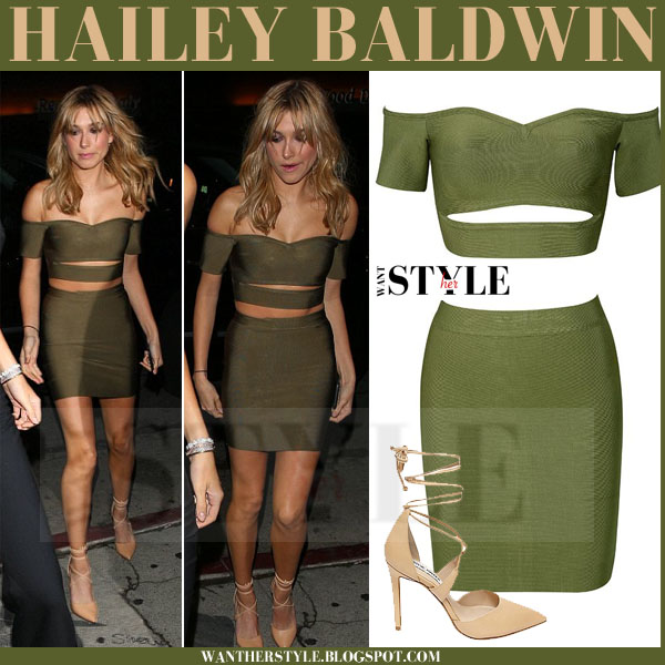 Hailey Baldwin in olive green crop top and mini skirt what she wore