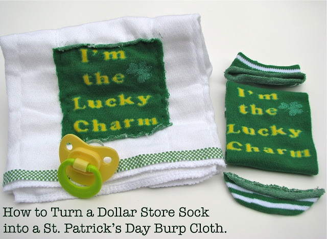 Dollar Store Sock into Burp Cloth