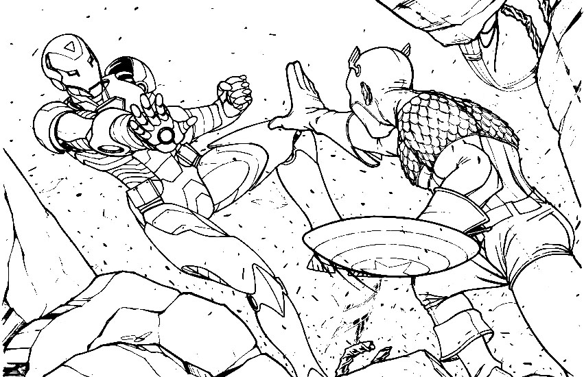 Ironman Vs Captain America Coloring Pages