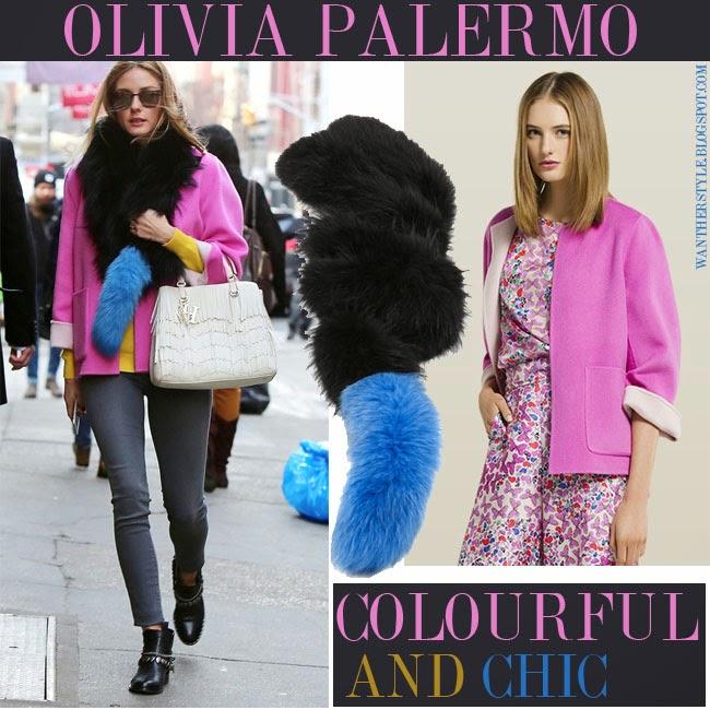 Olivia Palermo in pink jacket Carolina Herrera and black and blue fur scarf Charlotte Simone new york streetstyle february 2015