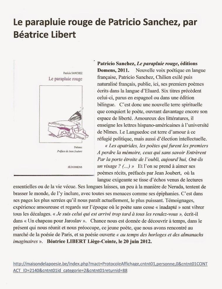Le parapluie rouge de Patricio Sanchez, par Béatrice Libert