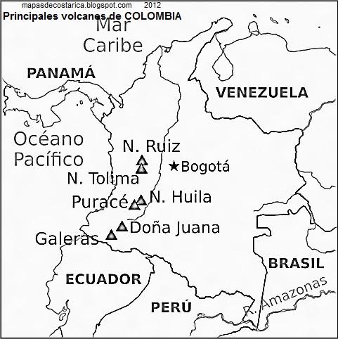 Principales volcanes de COLOMBIA, blanco y negro