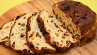 A photo of barnbreac - a traditional fruitbread eaten on Halloween in Ireland
