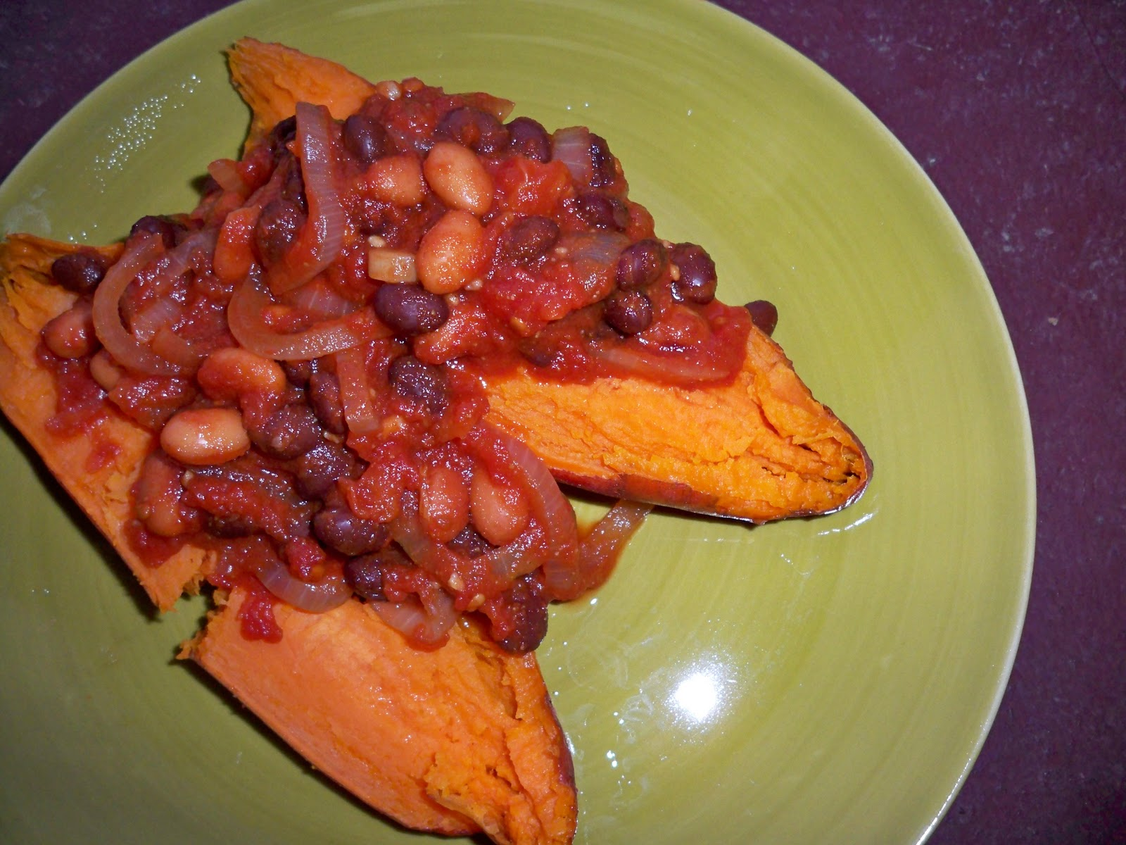 Food for Todd: Baked Sweet Potatoes with Chili Beans