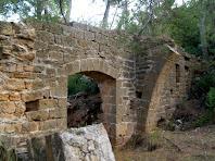 Vista de la paret nord de la sala gòtica amb un portal d'arc escarser i l'inici d'un dels arcs diafragmàtics