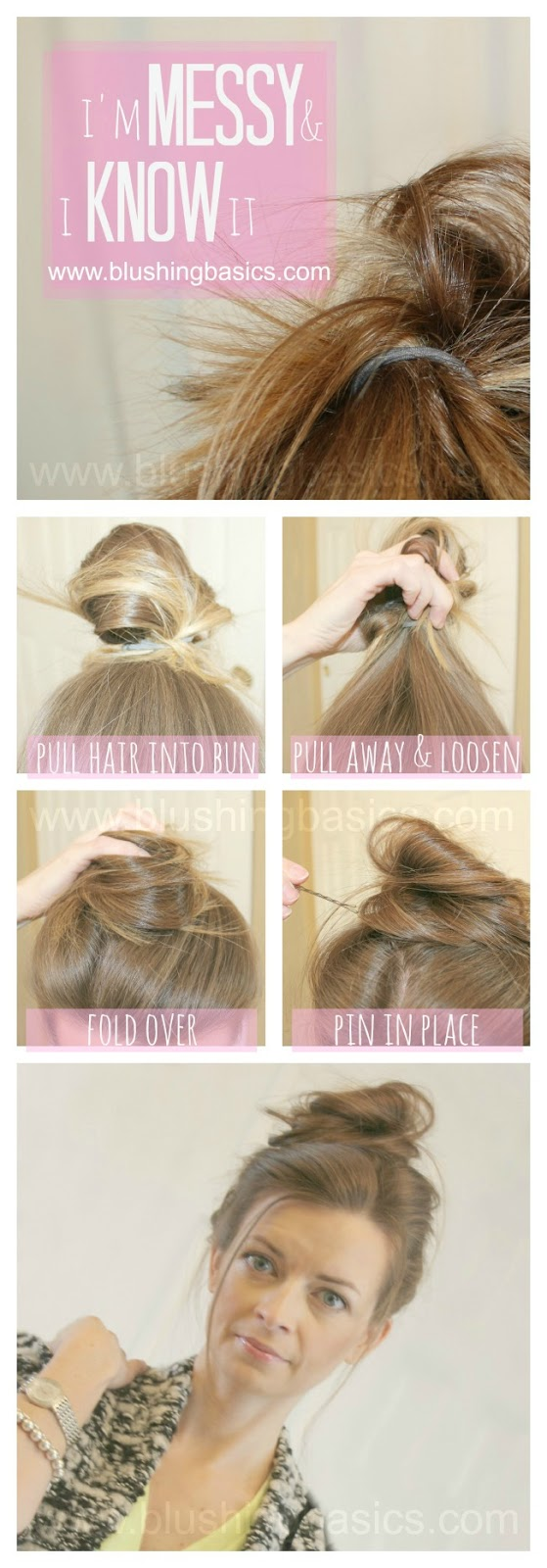 how to do twist hairstyles : blushing basics: Messy Bun How To