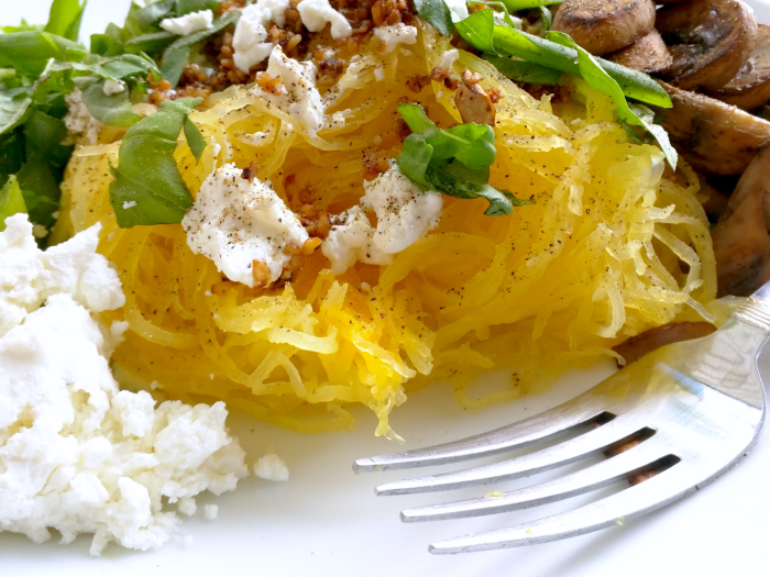 spaghetti squash with creamy goat cheese, garlic, green onions and fresh basil