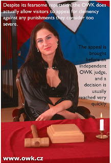 Captioned image of Madame Sarka who will be very fair and judicious
