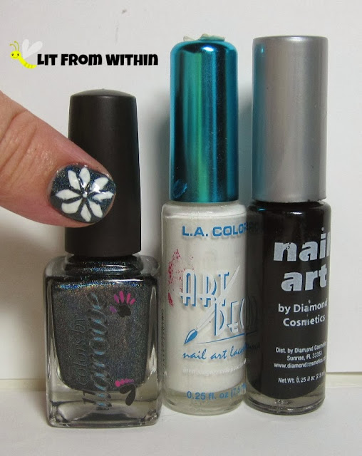 Bottle shot:  Colors by Llarowe Oh Christmas Tree, black and white nail art stripers
