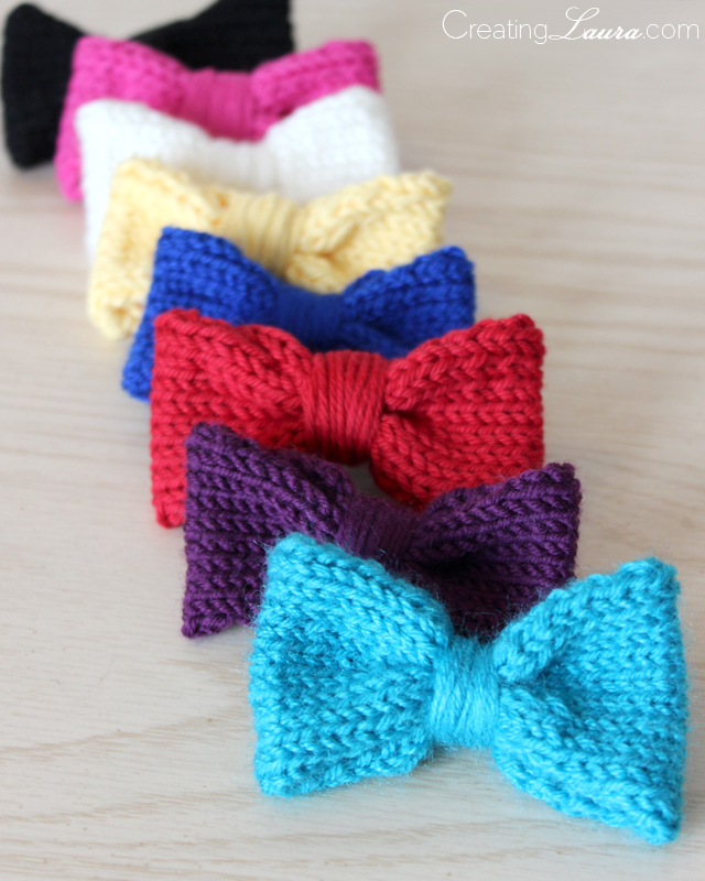 Knitted Bow Pattern : Creating Laura: Hair Bow Knitting Pattern