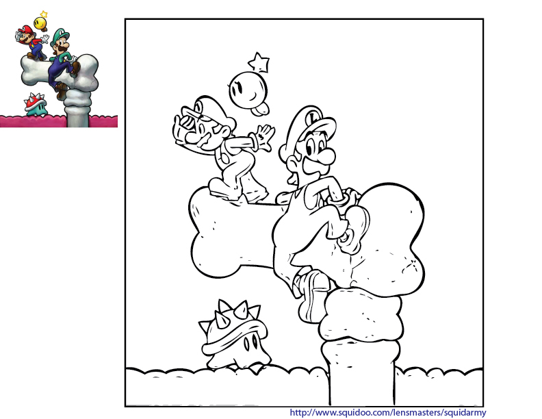 Mario Coloring Pages Squid Army